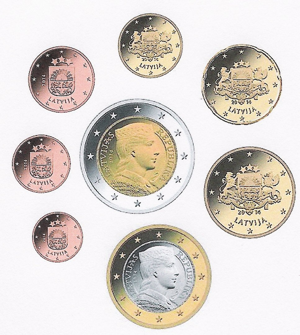 Latvia 1 Cent 2 Euro Set 2014 Stamps Labus