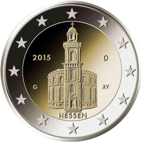 2 Euro Deutschland 2015 Hessen Paulskirche Briefmarken Labus